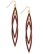 INC International Concepts Gold-Tone Burgundy Pavé Double Navette Drop Earrings, Created for Macy's