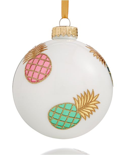 main image - Holiday Lane White Pineapple Glass Ball Ornament, Created For Macy's