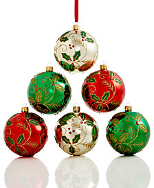 Holiday Lane Set Of 6 Shatterproof Holly Ball Ornaments, Created for Macy's