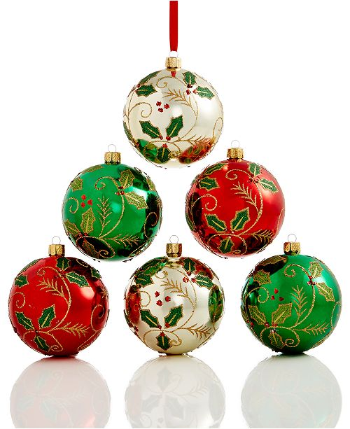 main image - Holiday Lane Set Of 6 Shatterproof Holly Ball Ornaments, Created For