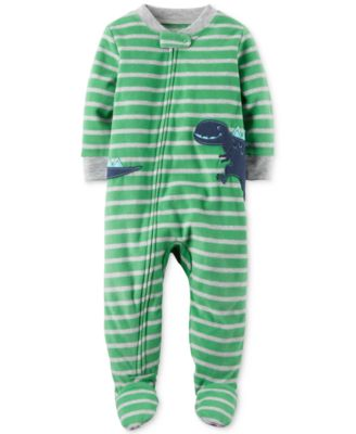 Image of Carter's 1-Pc. Striped Dinosaur Footed Pajamas, Baby Boys (0-24 months)