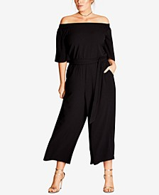 Trendy Plus Size Off-The-Shoulder Jumpsuit