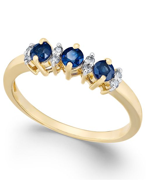 62a8500130df Macy's Sapphire (3/8 ct. t.w.) & Diamond Accent Ring in 14k ...