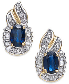 Sapphire (1-1/5 ct. t.w.) & Diamond (1/4 ct. t.w.) Drop Earrings in 14k Gold