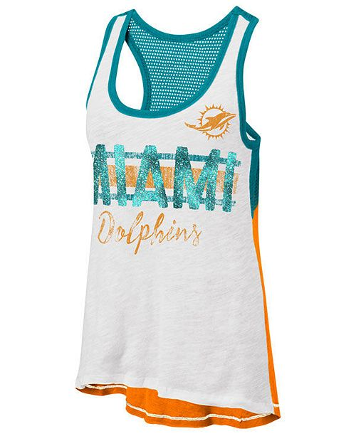 G-III Sports Women's Miami Dolphins Throwback Glitter Tank