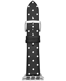 Women's Black with White Dot Leather Apple Watch® Strap 38mm