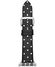 kate spade new york Black with White Dot Leather Apple Watch® Strap 38mm