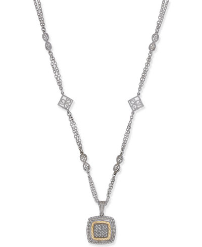 Diamond Pavé Square Pendant Necklace (1/3 ct. t.w.) in 14k Gold-Plated Sterling Silver