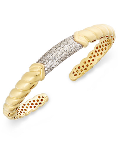 Diamond Pavé Bar Twist Cuff Bracelet (7/8 ct. t.w.) in 14k Gold-Plated Sterling Silver