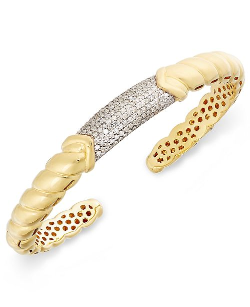 Macy's Diamond Pavé Bar Twist Cuff Bracelet (7/8 ct. t.w.) in 14k Gold-Plated Sterling Silver