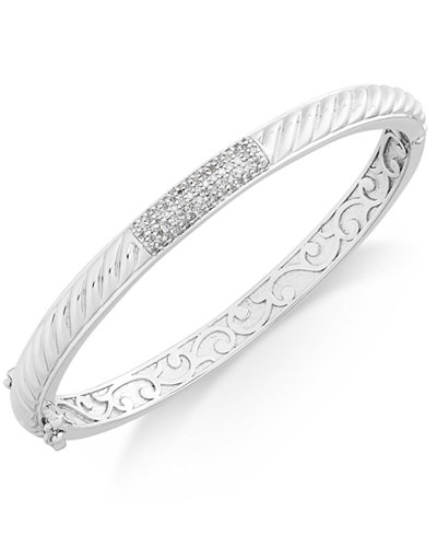 Diamond Pavé Bar Twist Bangle Bracelet (1/3 ct. t.w.) in Sterling Silver