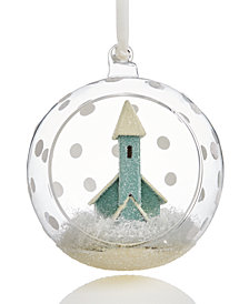 Holiday Lane Glass Dome With Church Ornament, Created for Macy's