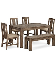 "Canyon Small 6-Pc.Dining Set, (60"" Dining Table, 4 Side Chairs & Bench), Created for Macy's"