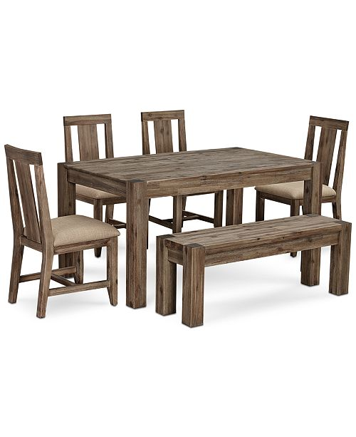 Canyon Small 6 Pc Dining Set 60 Dining Table 4 Side Chairs Bench Created For Macy S