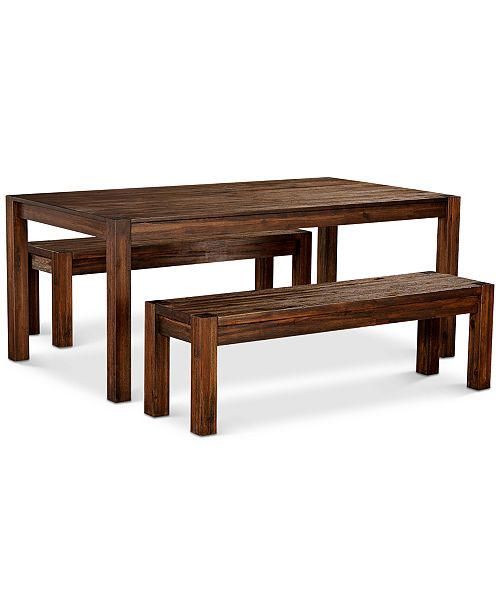 "Furniture Avondale Large Dining, 3-Pc. Set (72"" Dining Table & 2 Benches), Created for Macy's"