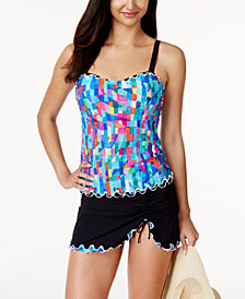 Profile by Gottex Serendipity Printed D-Cup Underwire Tankini Top & Swim Skirt