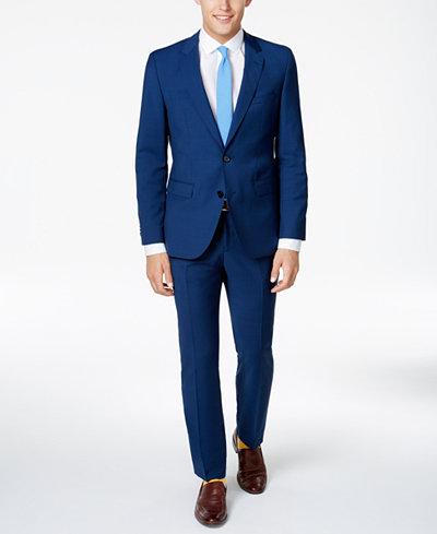 HUGO Men's Slim-Fit High Blue/Black Suit - Suits & Suit Separates ...