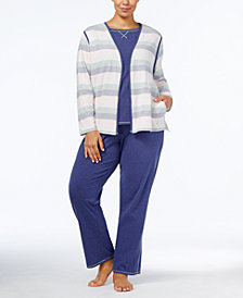 Nautica Plus Size Brushed Jersey Cardigan, Tank Top & Pajama Pants Sleep Separates