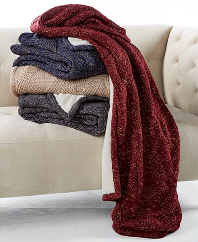 CLOSEOUT! Martha Stewart Collection Reversible Metallic Sweater-Knit Lattice Fleece Throw, Created for Macy's