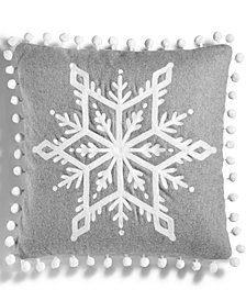 "CLOSEOUT! Martha Stewart Collection Snowflake 18"" Square Decorative Pillow, Created for Macy's"