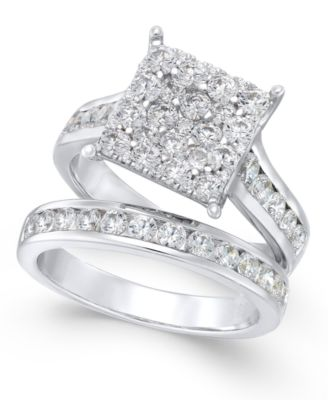 Diamond Square Cluster Bridal Set 2 ct tw in 14k White Gold