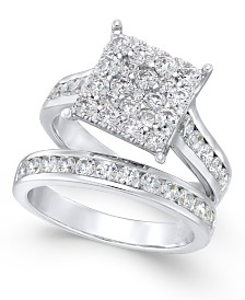 Diamond Square Cluster Bridal Set (2 ct. t.w.) in 14k White Gold