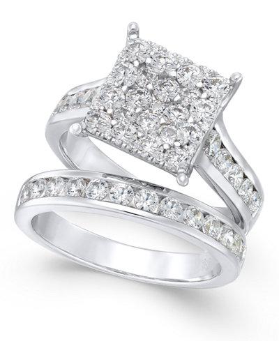 Diamond Square Cluster Bridal Set (2 ct. t.w.) in 14k White Gold
