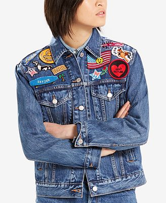 Levi's® Limited Ex-Boyfriend Patched Cotton Denim Trucker Jacket, Created for Macy's