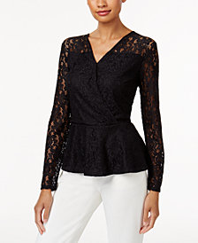 Thalia Sodi Lace Peplum Top, Created for Macy's