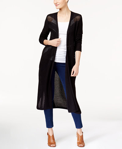 Style & Co Petite Pointelle Open-Front Duster Cardigan, Created ...