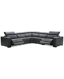 "Nevio 5-Pc. Leather ""L"" Shaped Sectional with 2 Power Recliners with Articulating Headrests, Created for Macy's"