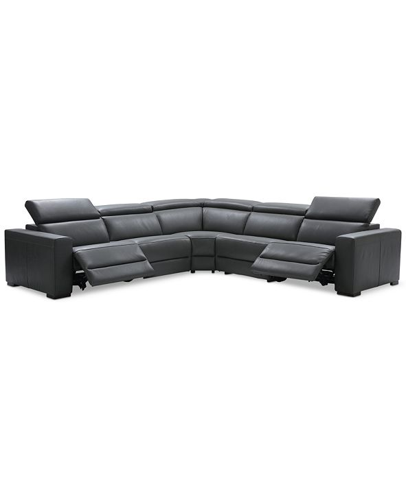 """Furniture Nevio 5-Pc. Leather """"L"""" Shaped Sectional with 2 Power Recliners with Articulating Headrests, Created for Macy's"""