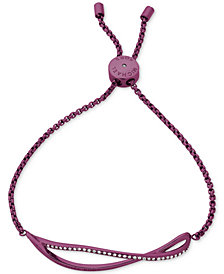 Michael Kors Purple-Tone Stainless Steel Pavé Wavy Slider Bracelet, Created for Macy's