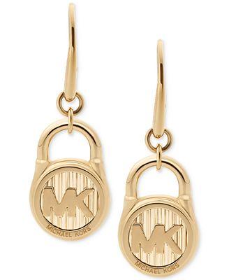 Michael Kors Logo Padlock Drop Earrings