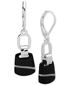 Nine West Silver-Tone Black Stone Drop Earrings