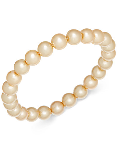 Charter Club Champagne Imitation Pearl Stretch Bracelet, Created for Macy's