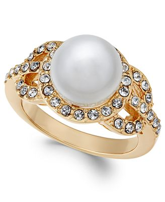 Charter Club Gold-Tone Pavé & Imitation Pearl Ring, Created for Macy's