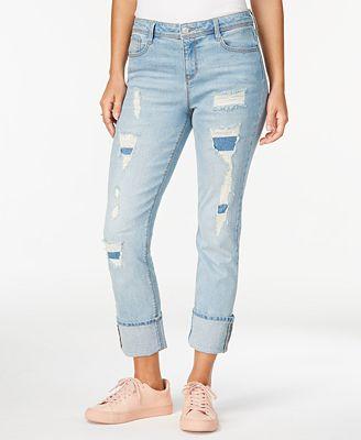 Black Daisy Kate Ripped Straight-Leg Jeans