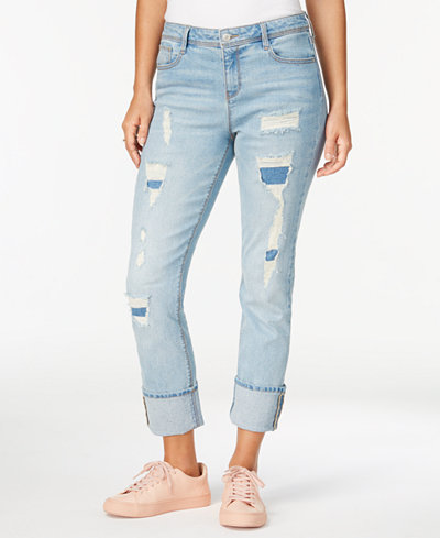 Black Daisy Kate Ripped Straight-Leg Jeans