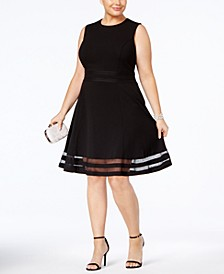 Plus Size Illusion-Trim Fit & Flare Dress