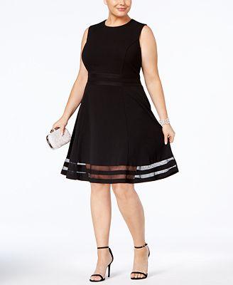 calvin klein plus size illusion-trim fit & flare dress - dresses