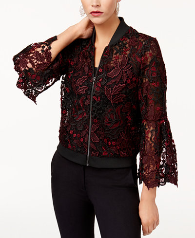 KOBI Lace Mesh-Contrast Bomber Jacket, Created for Macy's