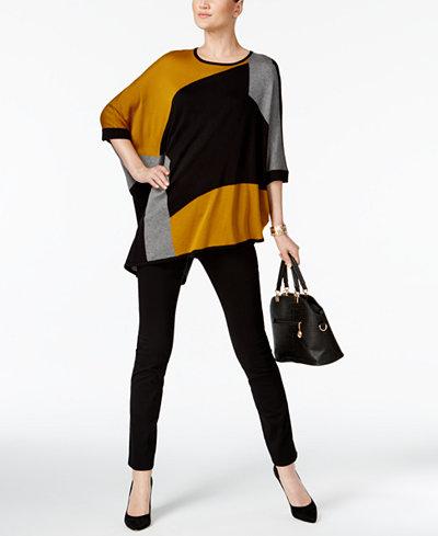 Alfani Colorblocked Poncho Top & Tummy-Control Skinny Pants, Created for Macy's