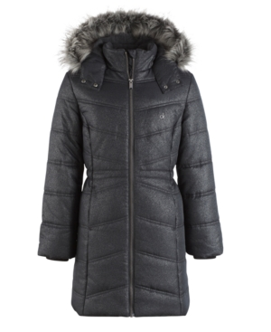 Calvin Klein Everest Puffer Jacket with FauxFur Trim Little Girls (46X)