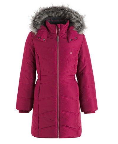 Calvin Klein Everest Puffer Jacket with Faux-Fur Trim, Toddler ...