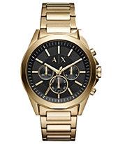 611e6cbffd948 A X Armani Exchange Men s Chronograph Drexler Gold-Tone Stainless Steel  Bracelet Watch 44mm