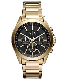 A|X Armani Exchange Men's Chronograph Drexler Gold-Tone Stainless Steel Bracelet Watch 44mm