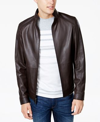 Michael Kors Men's Leather Racer Jacket - Coats & Jackets - Men ...