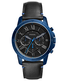 Fossil Men's Chronograph Grant Black Leather Strap Watch 44mm