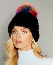 Fox-Trim Knitted Mink Fur Hat